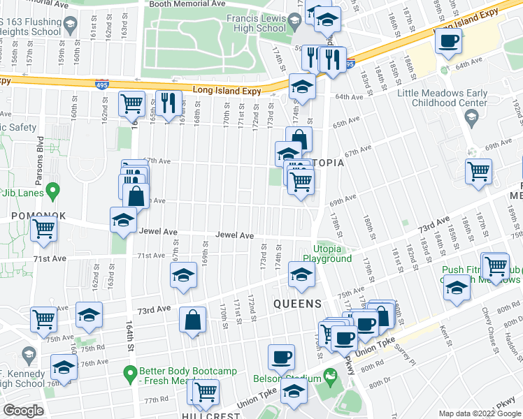 map of restaurants, bars, coffee shops, grocery stores, and more near 69-06 173rd St in Queens