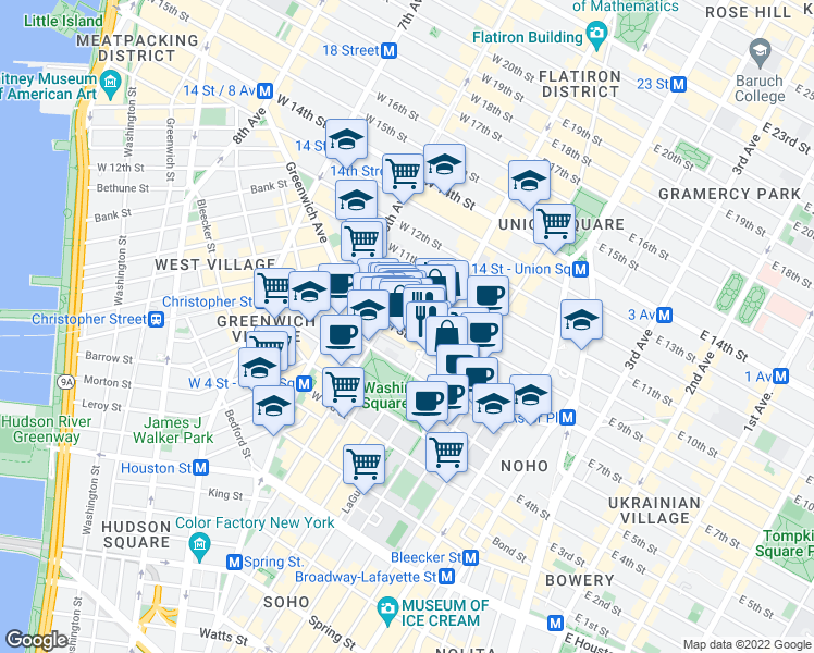 map of restaurants, bars, coffee shops, grocery stores, and more near 1 5th Avenue in New York