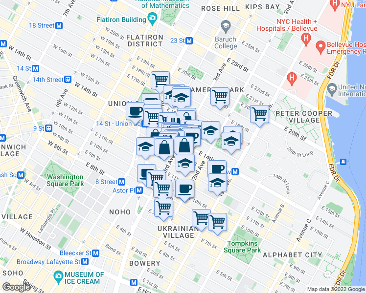 map of restaurants, bars, coffee shops, grocery stores, and more near 123 3rd Avenue in New York