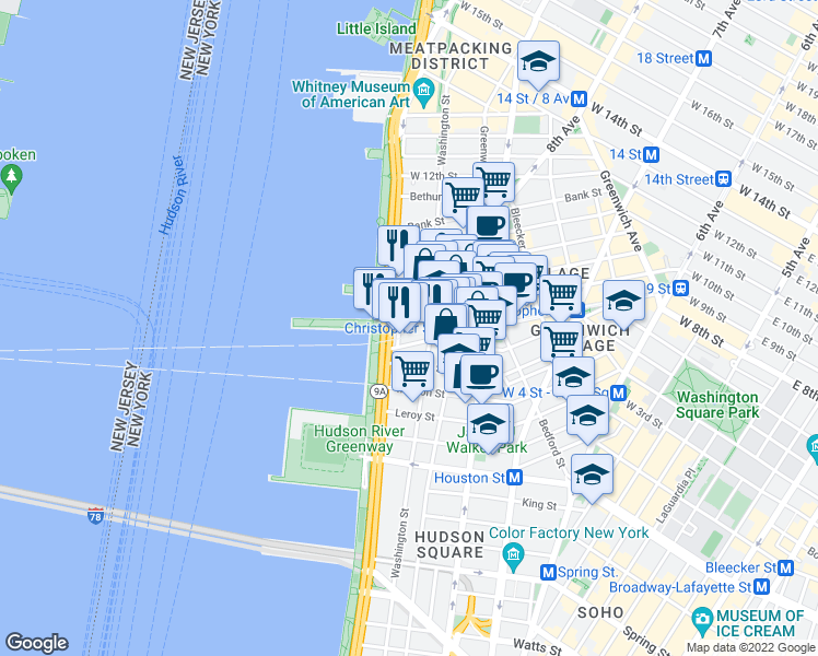 map of restaurants, bars, coffee shops, grocery stores, and more near 300 West 10th Street in New York