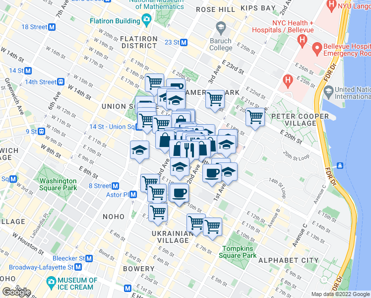 map of restaurants, bars, coffee shops, grocery stores, and more near 228 East 14th Street in New York
