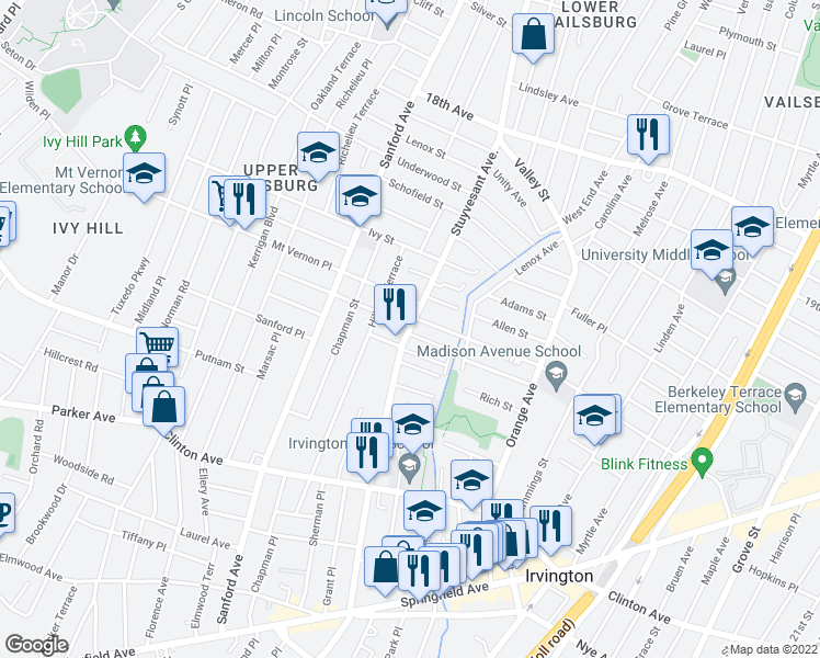 map of restaurants, bars, coffee shops, grocery stores, and more near 16 Mountainview Place in Newark