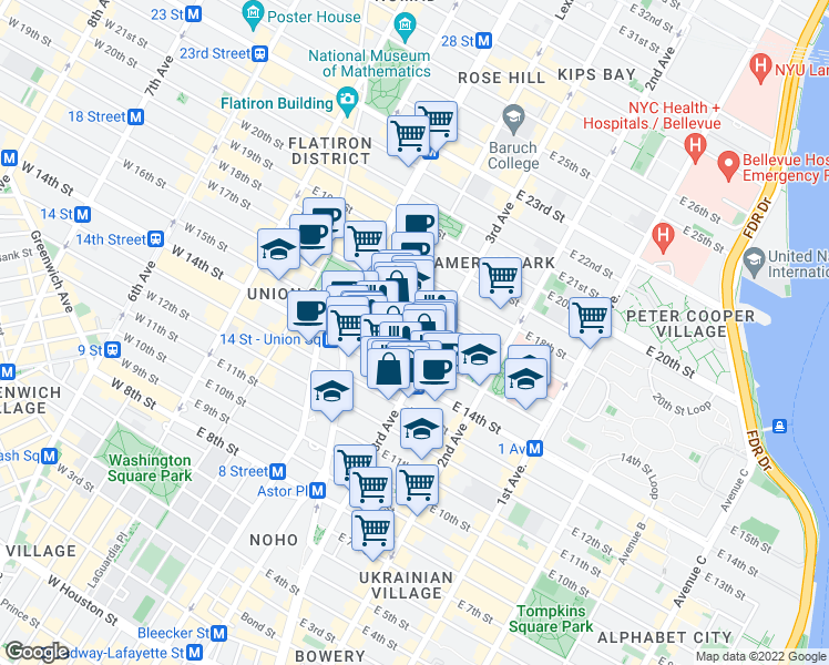 map of restaurants, bars, coffee shops, grocery stores, and more near 126 3rd Avenue in New York