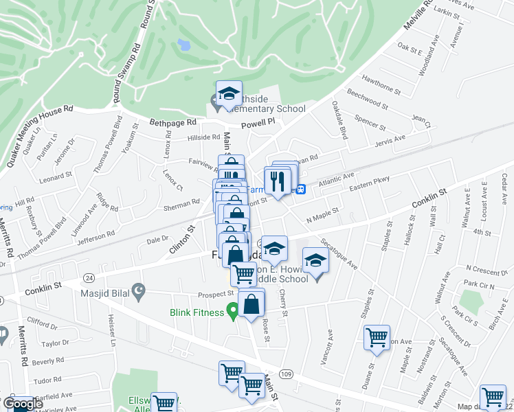 map of restaurants, bars, coffee shops, grocery stores, and more near 32 Elizabeth St in Farmingdale