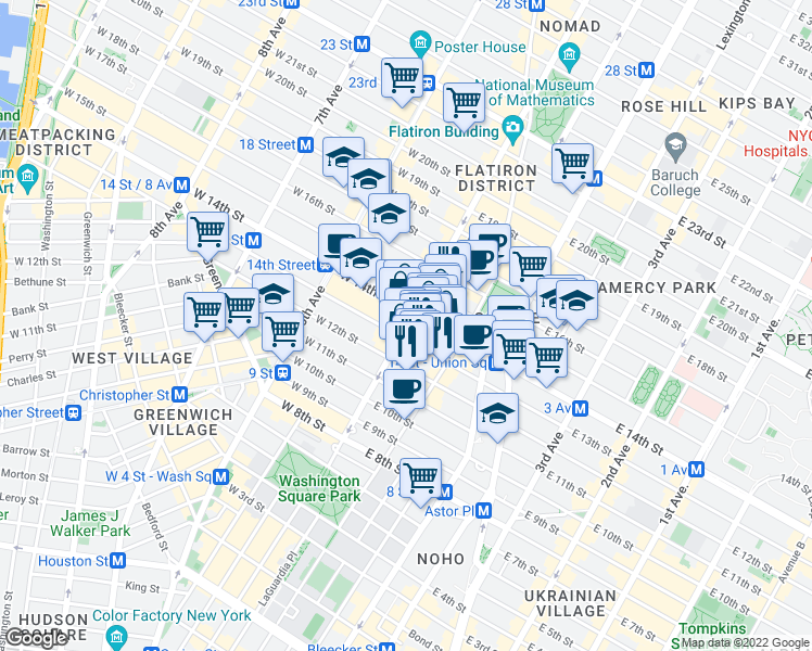 map of restaurants, bars, coffee shops, grocery stores, and more near 69 5th Avenue in New York