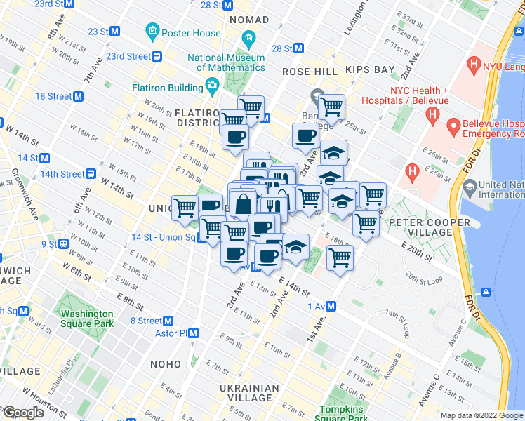map of restaurants, bars, coffee shops, grocery stores, and more near 131 East 17th Street in New York