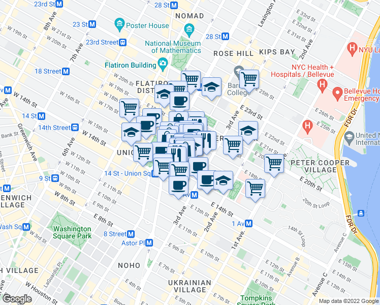 map of restaurants, bars, coffee shops, grocery stores, and more near 123 East 17th Street in New York
