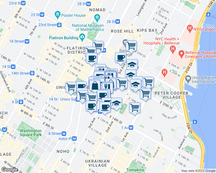 map of restaurants, bars, coffee shops, grocery stores, and more near East 18th Street in New York