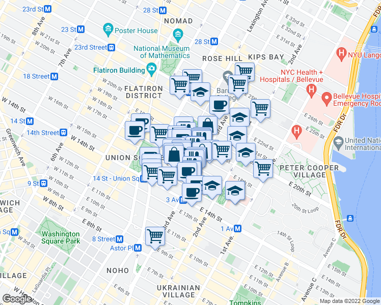 map of restaurants, bars, coffee shops, grocery stores, and more near 190 3rd Avenue in New York