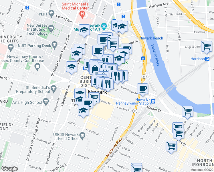 map of restaurants, bars, coffee shops, grocery stores, and more near 9 Commerce Street in Newark