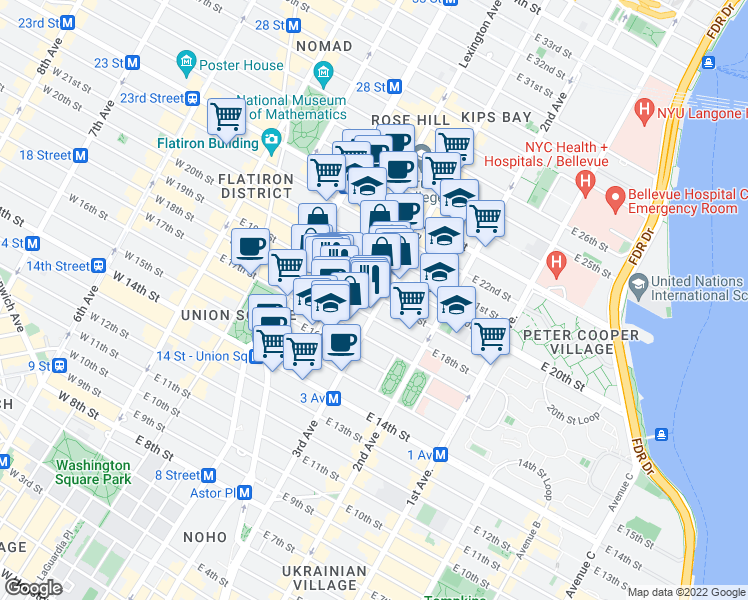 map of restaurants, bars, coffee shops, grocery stores, and more near 220 3rd Avenue in New York