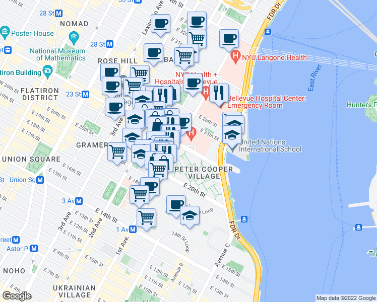 map of restaurants, bars, coffee shops, grocery stores, and more near 403 East 23rd Street in New York
