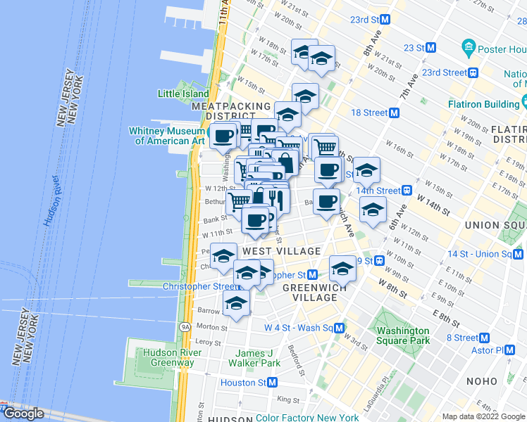 map of restaurants, bars, coffee shops, grocery stores, and more near Hudson St & Bank St in New York