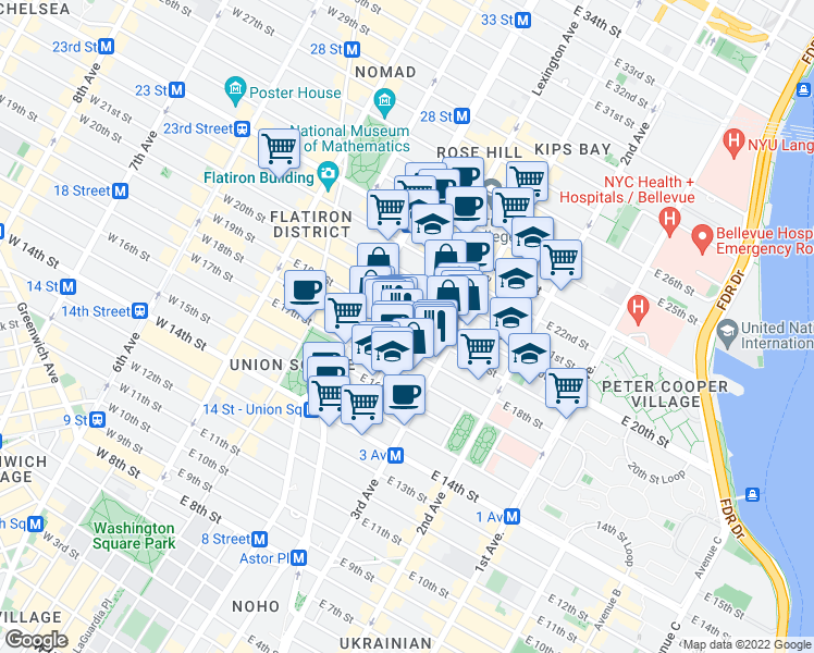map of restaurants, bars, coffee shops, grocery stores, and more near 79 Irving Place in New York