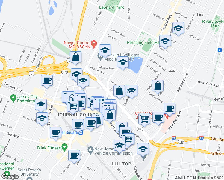 map of restaurants, bars, coffee shops, grocery stores, and more near 170 St Pauls Ave in Jersey City