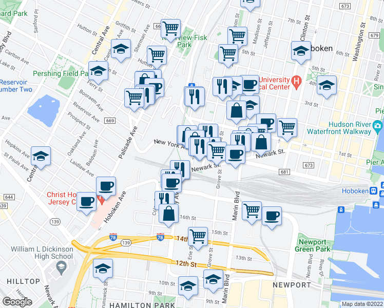 map of restaurants, bars, coffee shops, grocery stores, and more near 50 Harrison St in Hoboken