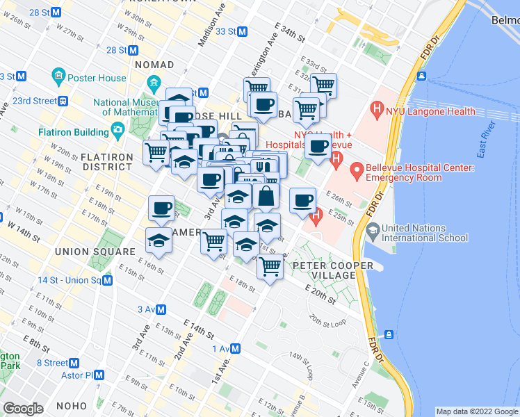 map of restaurants, bars, coffee shops, grocery stores, and more near 2nd Avenue & East 23rd Street in New York