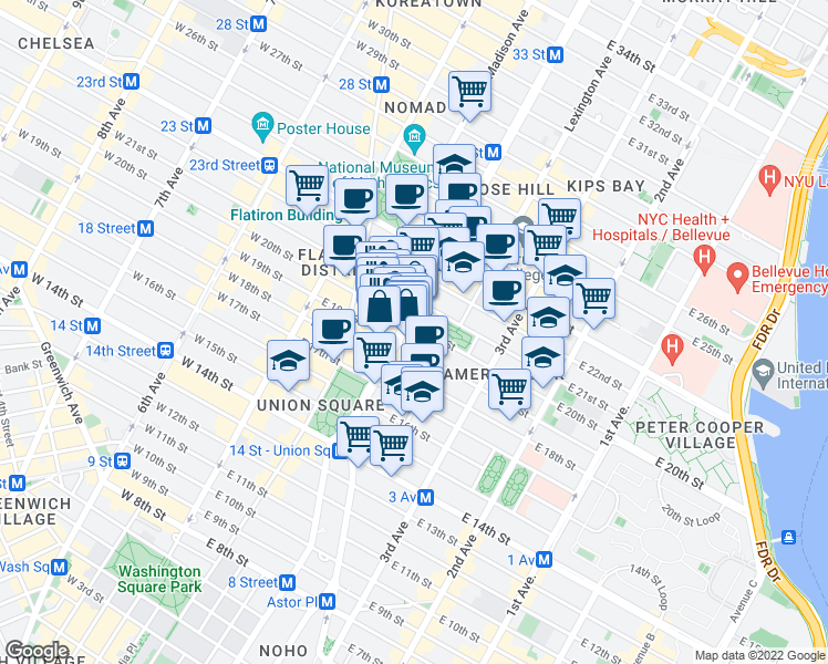map of restaurants, bars, coffee shops, grocery stores, and more near 48 East 21st Street in New York