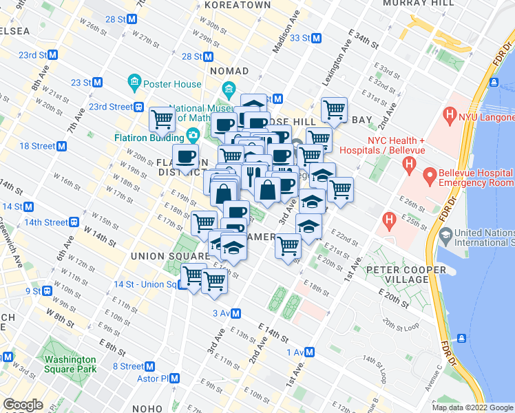 map of restaurants, bars, coffee shops, grocery stores, and more near East 21st Street in New York