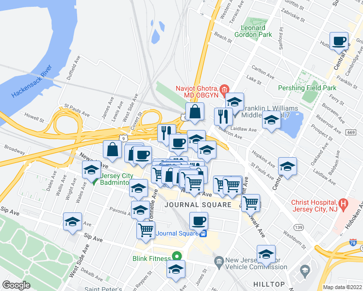 map of restaurants, bars, coffee shops, grocery stores, and more near 75 Liberty Avenue in Jersey City