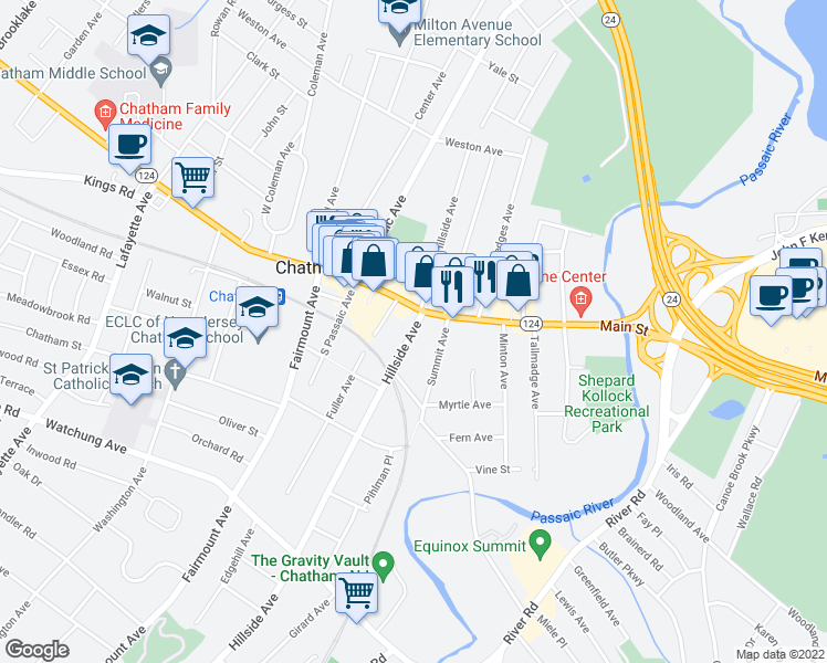map of restaurants, bars, coffee shops, grocery stores, and more near 0 Chatham Stree