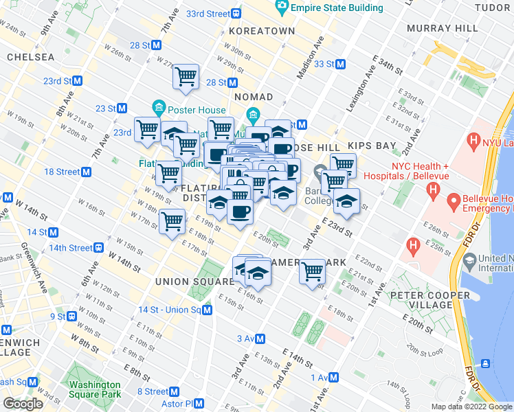 map of restaurants, bars, coffee shops, grocery stores, and more near 41-43 East 22nd Street in New York
