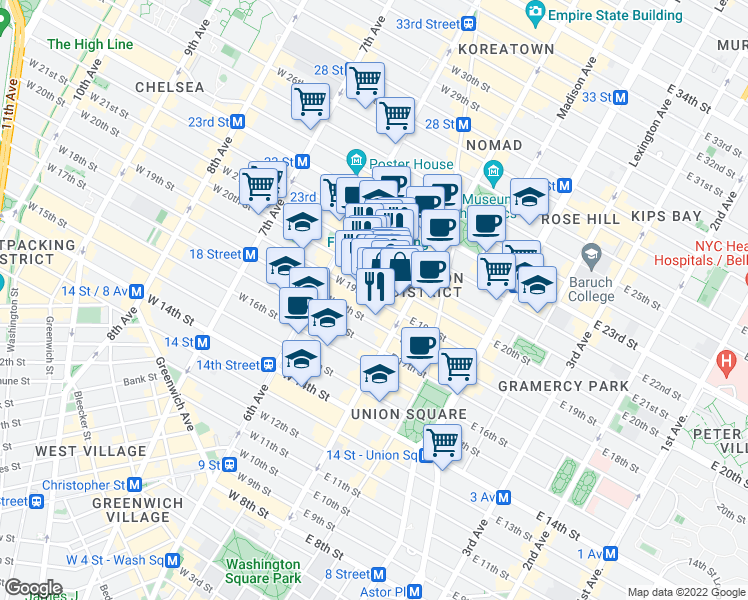 map of restaurants, bars, coffee shops, grocery stores, and more near 10 West 20th Street in New York