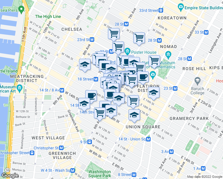 map of restaurants, bars, coffee shops, grocery stores, and more near 625-631 Avenue of the Americas in New York