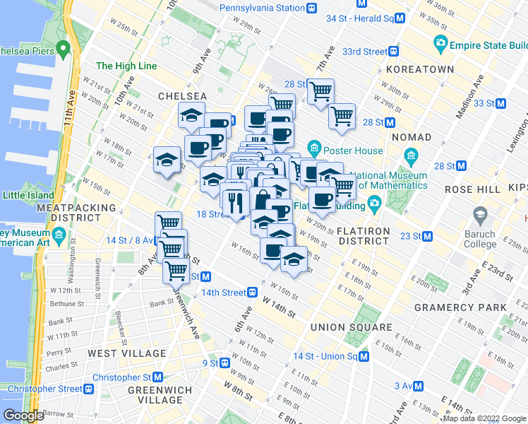 map of restaurants, bars, coffee shops, grocery stores, and more near 130 West 19th Street in New York