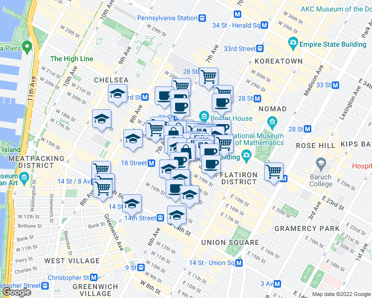 map of restaurants, bars, coffee shops, grocery stores, and more near 121a West 20th Street in New York