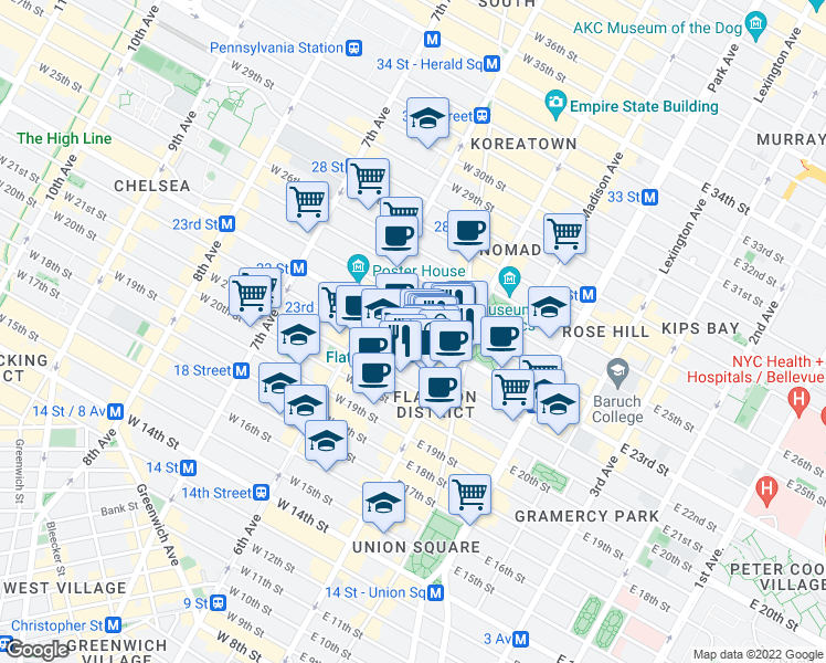 map of restaurants, bars, coffee shops, grocery stores, and more near 31 West 23rd Street in New York