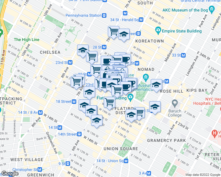 map of restaurants, bars, coffee shops, grocery stores, and more near West 23rd Street in New York