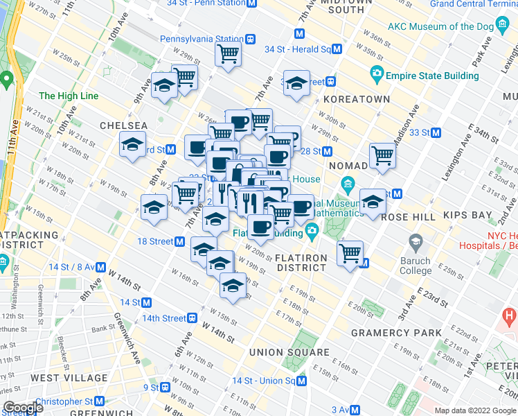 map of restaurants, bars, coffee shops, grocery stores, and more near 100 West 23rd Street in New York