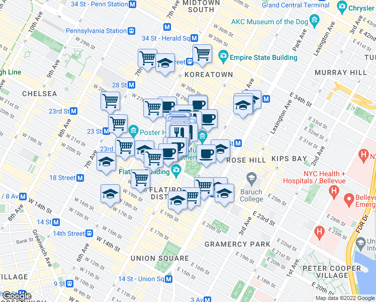 map of restaurants, bars, coffee shops, grocery stores, and more near 1-3 West 25th Street in New York