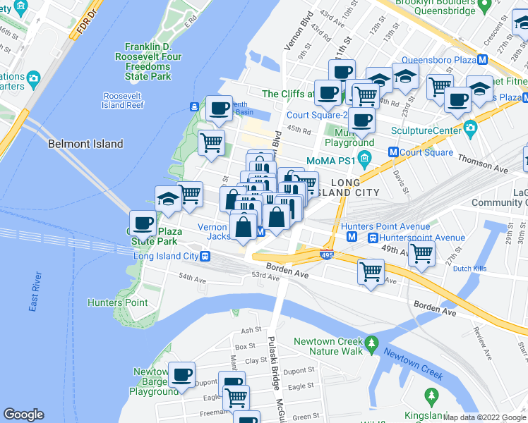 map of restaurants, bars, coffee shops, grocery stores, and more near 48-15 Vernon Blvd in Queens