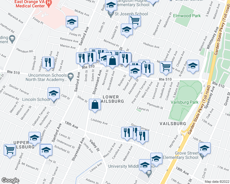 map of restaurants, bars, coffee shops, grocery stores, and more near 102 Brookdale Avenue in Newark