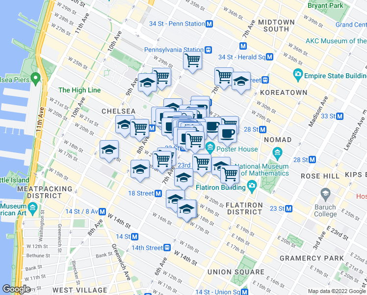 map of restaurants, bars, coffee shops, grocery stores, and more near 170 West 25th Street in New York