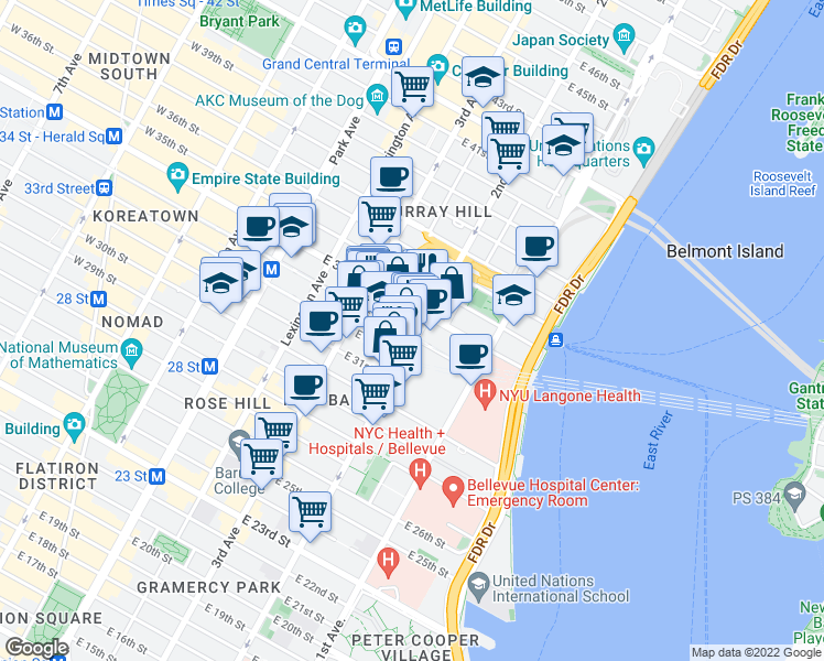map of restaurants, bars, coffee shops, grocery stores, and more near 598-604 2nd Avenue in New York