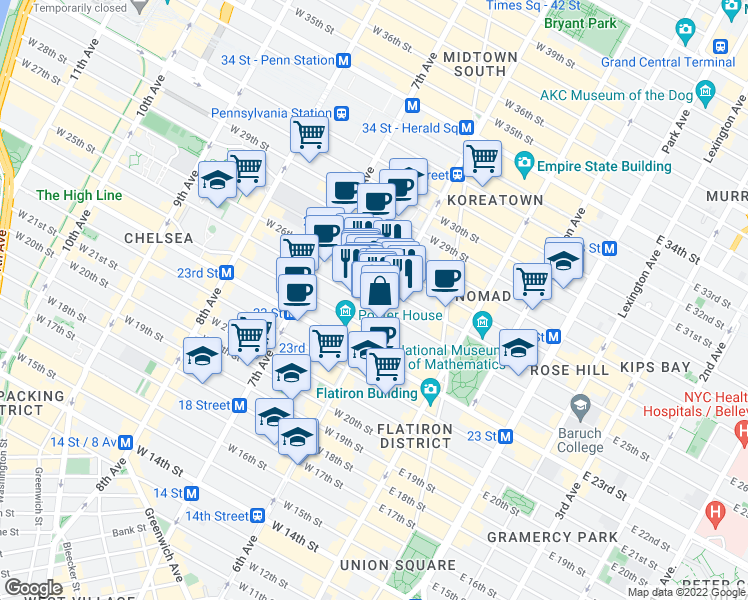map of restaurants, bars, coffee shops, grocery stores, and more near 761 East 6th Street in New York