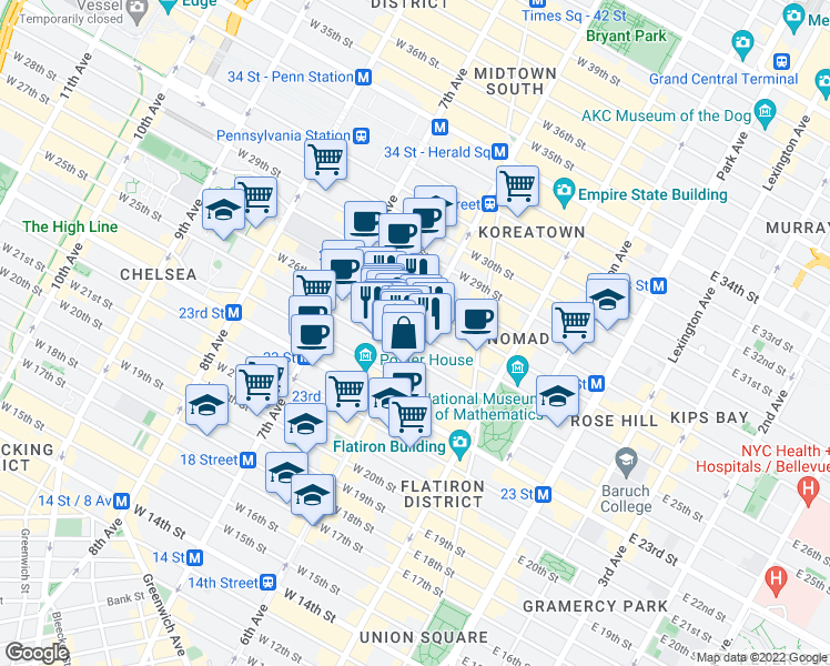map of restaurants, bars, coffee shops, grocery stores, and more near 6th Avenue & West 26th Street in New York