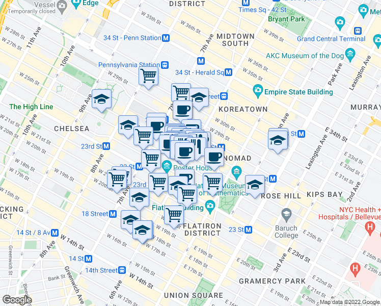 map of restaurants, bars, coffee shops, grocery stores, and more near 751 6th Avenue in New York
