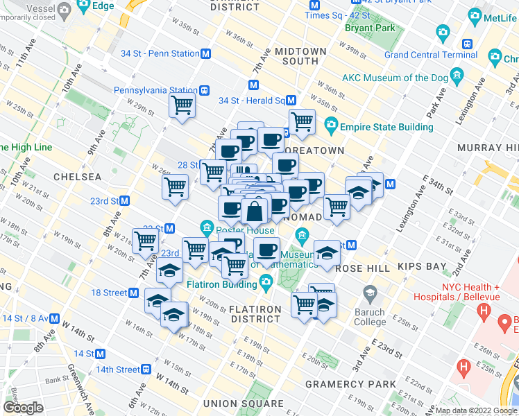 map of restaurants, bars, coffee shops, grocery stores, and more near 49 West 27th Street in New York