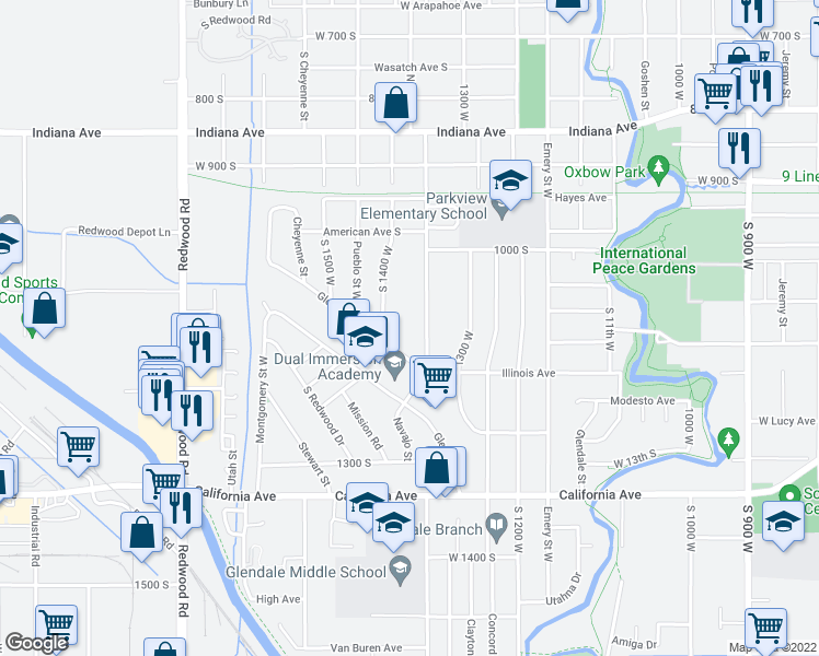 map of restaurants, bars, coffee shops, grocery stores, and more near 1112 Navajo St in Salt Lake City