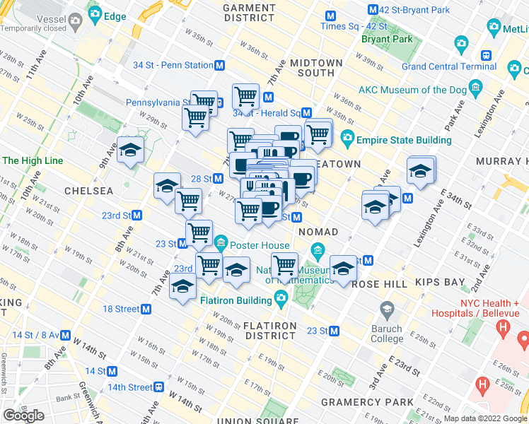 map of restaurants, bars, coffee shops, grocery stores, and more near 793 Avenue of the Americas in New York