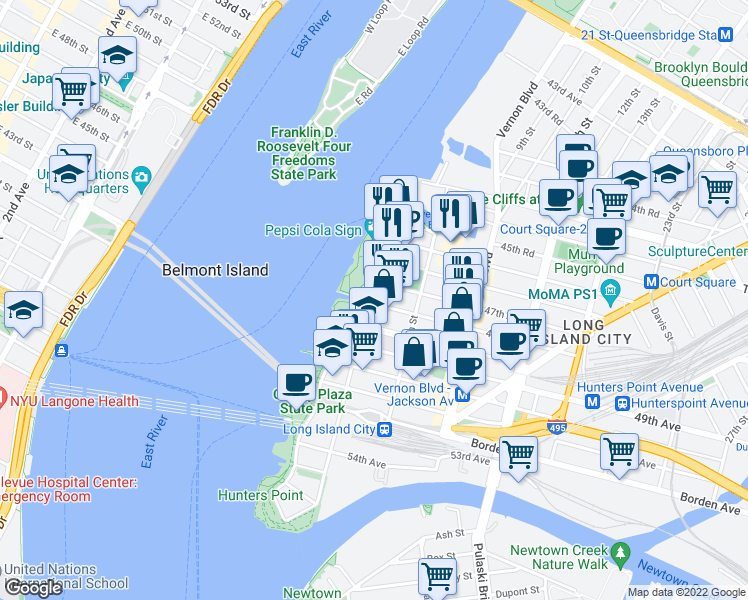 map of restaurants, bars, coffee shops, grocery stores, and more near 4-09 47th Road in Queens