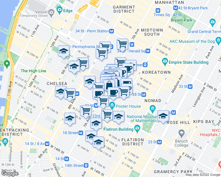 map of restaurants, bars, coffee shops, grocery stores, and more near 166 West 27th Street in New York
