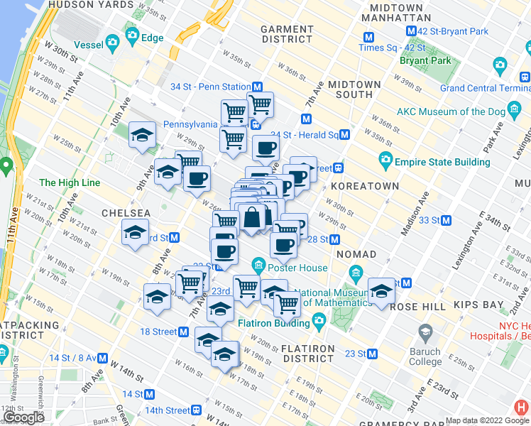 map of restaurants, bars, coffee shops, grocery stores, and more near 168 West 27th Street in New York
