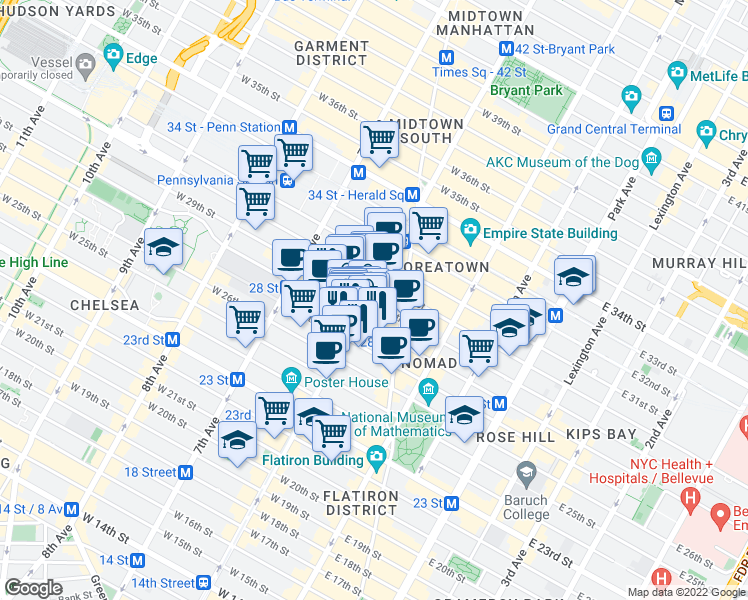 map of restaurants, bars, coffee shops, grocery stores, and more near 50 West 28th Street in New York