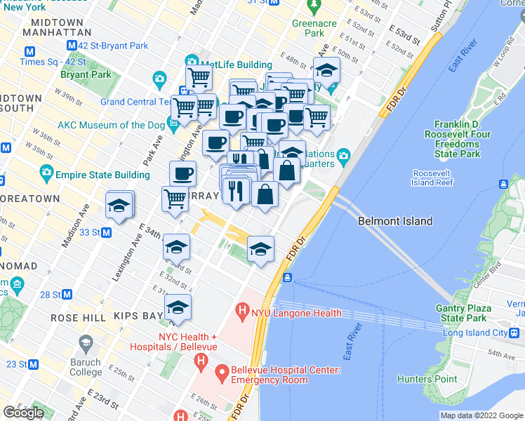 map of restaurants, bars, coffee shops, grocery stores, and more near 325 East 38th Street in New York