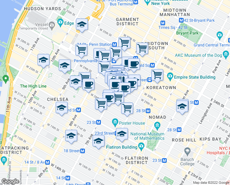 map of restaurants, bars, coffee shops, grocery stores, and more near 7th Avenue & West 28th Street in New York